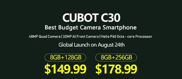 Cubot C30正式发布:矩阵四摄组合+联发科Helio P60处理器